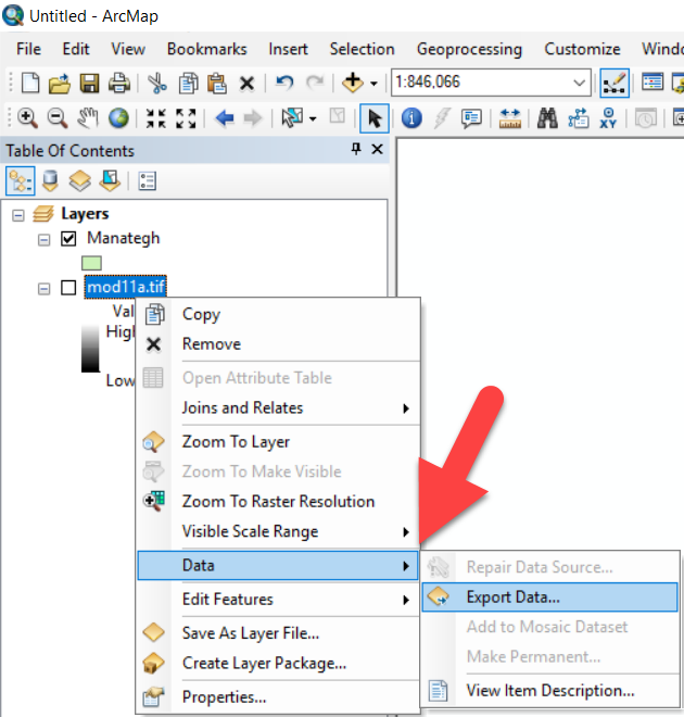 آموزش ابزار export data در ArcGIS