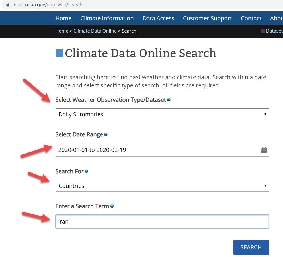 آمار ایستگاه های هواشناسی ایران در سایت NOAA