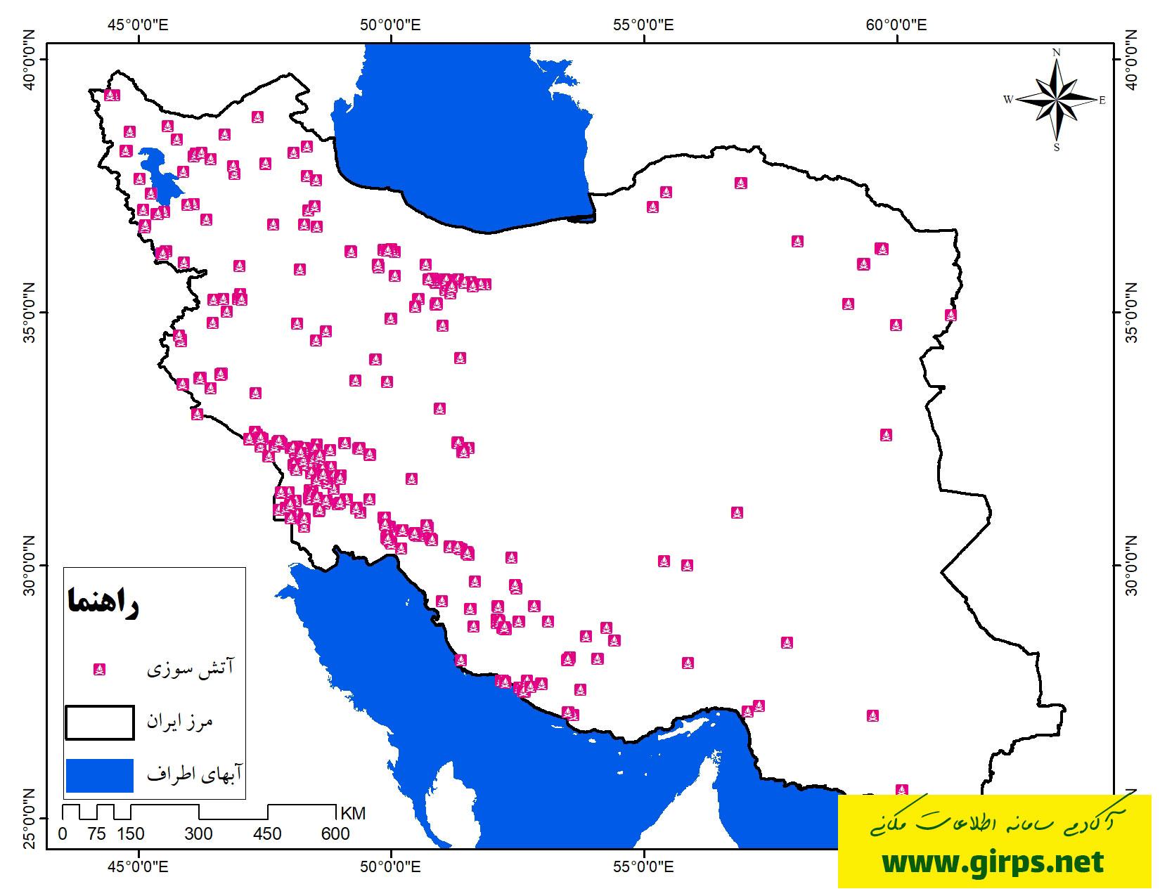نقشه پراکندگی نقاط آتش سوزی ایران